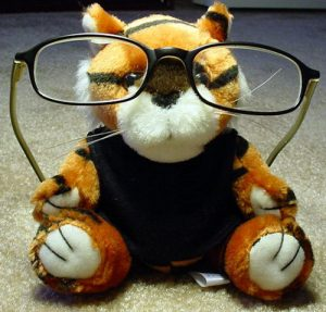 toy wearing glasses